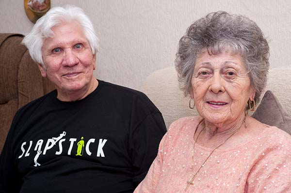 Tony and Sheleagh White, who have been married for 55 years and are big fans of silent comedy.